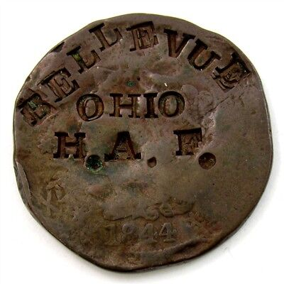 1844/81 Braided Hair Large Cent with H.A.F. Bellevue, Ohio Counterstamp & More