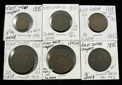 Lot of 6 British East India Company Coins -Dated 1803-1845- VF to AU