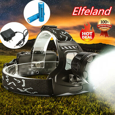20000LM Elfeland Headlamp T6 LED Head Light Torch Zoomable Rechargeable Lamp US