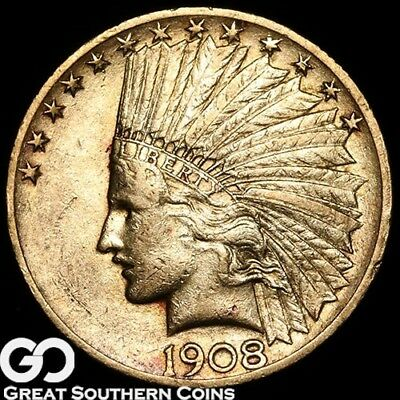 1908 Gold Eagle, $10 Gold Indian, With Motto, Tougher Date ** Free Shipping!
