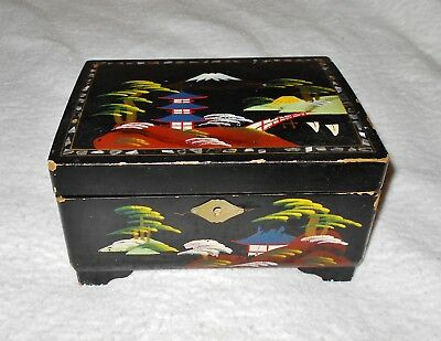 Vintage Japanese Black Lacquer Jewelry Music Box Hand Painted With Mirror AS IS