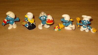 Smurf Food Collection lot of 5 Smurfs Vintage Rare Used Display Figurines