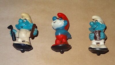 Smurf - Collection lot of 3 Smurfs Vintage Rare Used Display Figures Bottle Tops