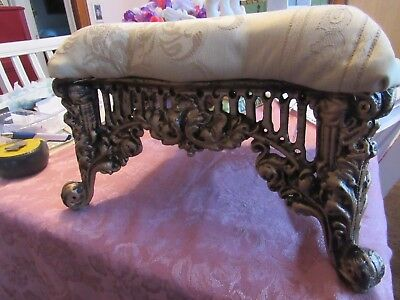 Gold Iron Foot Stool with Lt. Yellow Upholstery   LOCAL PICK UP ONLY