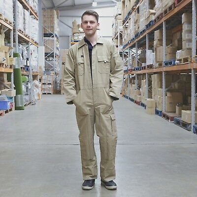 KLM Clothing Khaki Heavy Weight 100% Cotton Boiler Suit Overalls Coveralls