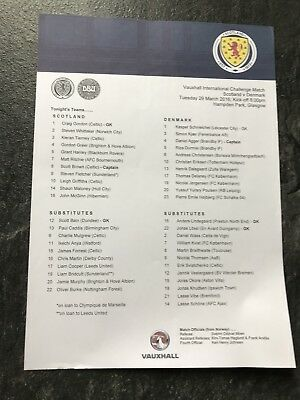Scotland v Denmark  March! 2016 Scottish International MINT TEAMSHEET