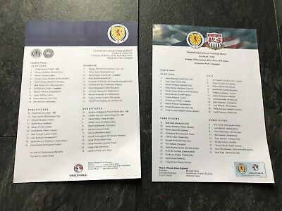 Scotland v USA 2013 + Denmark 2016 Friendlys  International MINT TEAMSHEET x 2