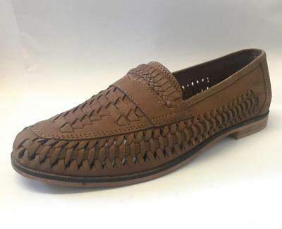Top Brand Mens Bow Weave Slip On Tan Real Leather Boat Shoes Loafers Size 6-