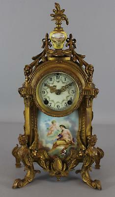 Antique Victorian NEW HAVEN Gilded Bronzed Mantle Clock Porcelain Accents, NR
