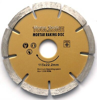 Angle Grinders Mortar Raking pointing Disc blade Diamond coated 115mm 6mm x 22.2