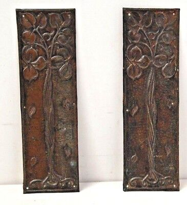 Pair of Art Nouveau Pressed Metal Copper Effect  / Push Door / Finger  Plates