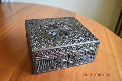 A Lovely Old Hand Carved Wooden Box