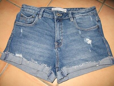 91ecf81705b6e ZARA HOT PANTS Jeans-Shorts Gr. 36 blau used-look Trafaluc denimwear w. NEU  !!!