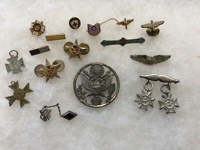 Nice LOT of 15 VINTAGE United States Military Medals Pins,Bars, Badges WW2 & Up