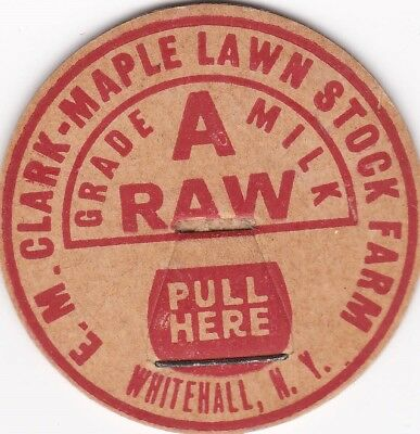 Milk Bottle Cap. Maple Lawn Stock Farm. Whitehall, Ny. Dairy
