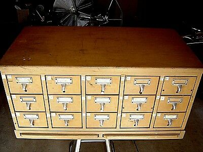 Vintage Mid Century 15 Drawer Wood Card Filing Cabinet - Industrial Library