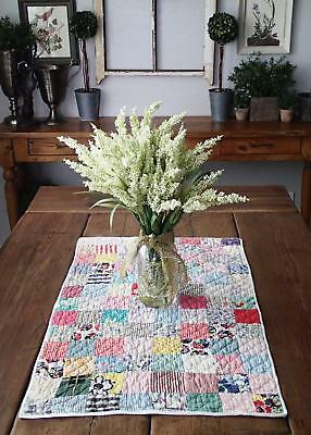 "Charming Vintage Feedsack Farmhouse Table or Crib Quilt  29""x18"" Cottage Prints"