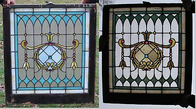 19thC Antique Victorian Stain Glass Leaded Slag Window w/ Jewels, NR