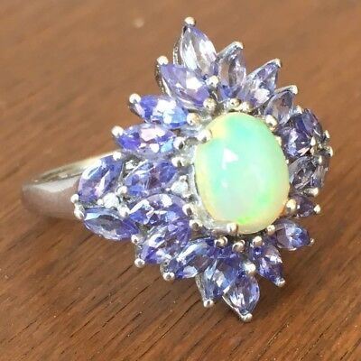 Sterling Silver Opal and Tanzanite Ring size 7