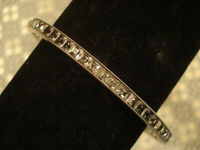 Lovely Antique Art Deco;Channel Set Diamond Paste Stones Sterling Silver Bangle