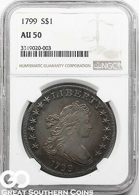 1799 NGC Draped Bust Dollar NGC AU 50 ** Great Strike, Tough, Free Shipping!