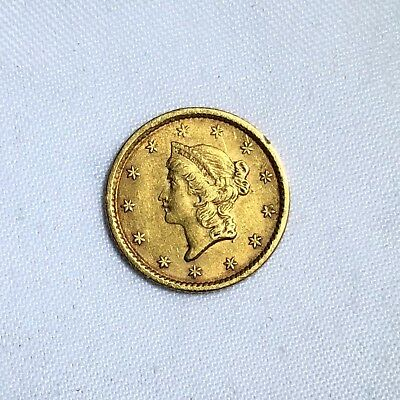 1852 $1 One Gold Dollar Liberty Head Coin, Type 1, Close Wreath