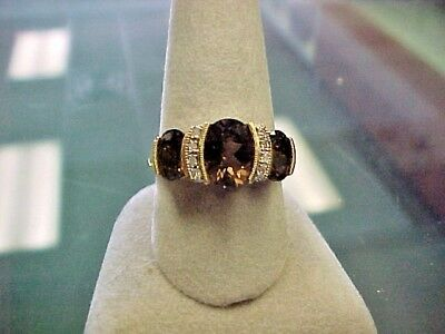 Real 10k Gold & Smokey Topaz Awesome Vintage setting absolutely stunning