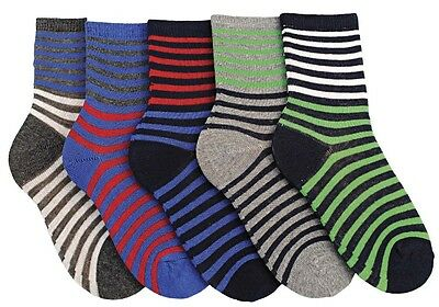 Modern Casuals Boys 5 Pairs Striped Cotton Rich Socks