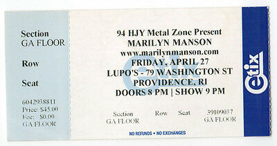 MARILYN MANSON Concert TICKET Stub TOUR Lupo's PROVIDENCE Rhode Island RI