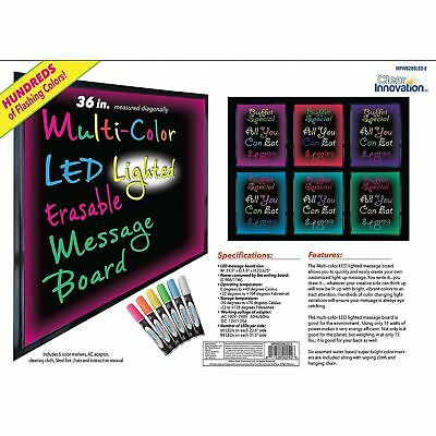 "Clear Innovation 36"" Multi-Color LED Marker Message  Board w/Light Control NEW"