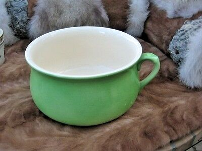 "SUPER  Antique chamber POT bowl POTTERY GREEN 10.5"" IN LONG"