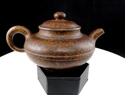 """Japanese Art Pottery Signed Brown Speckled 6 5/8"""" Individual Teapot"""