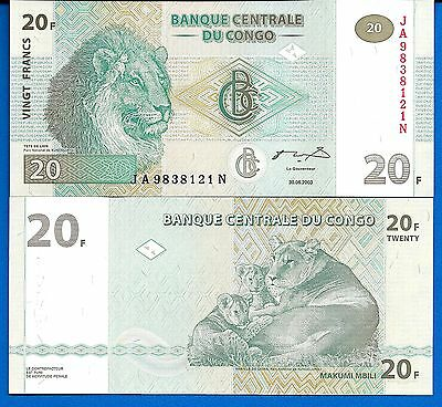 Congo P-94 20 Francs Year 2003 Lion Uncirculated Banknote Africa