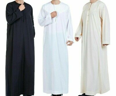 Men Abaya Robe Thoub Daffah Dishdasha Islamic Arab Kaftan Muslim Dress Omani