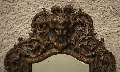 19th c. Victorian Cast Iron Bacchus Wall Mirror w/ Beveled Glass Antique