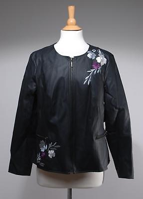 NWT Alfani Black Embroidered Faux Leather Zip-Front Blazer Jacket Size L