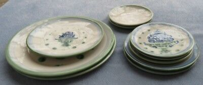 10 Pcs Mary M.A. Hadley Bouquet Hand Painted Dinnerware Dinner Salad Plates, etc