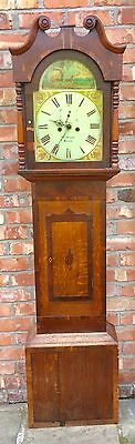 Antique Inlaid Oak & Mahogany 8 DAY Longcase Grandfather Clock THOS PEARCE BOURN