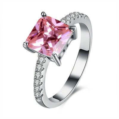 Silver Square Cut Cubic Zirconia Prong Setting Lovely Wedding Ring Size 5-10
