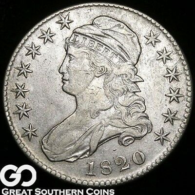 1820 Capped Bust Half Dollar, Choice XF Better Date Silver Half, Free Shipping!