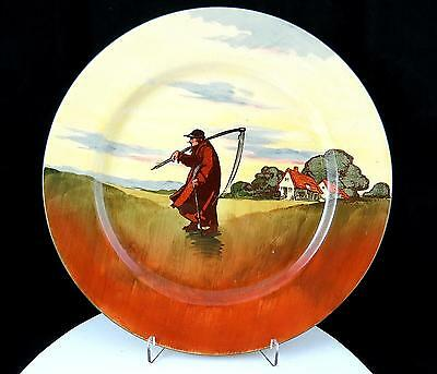 """Rare Royal Doulton """"reaper"""" Farm Workers Silhouette Series 10 1/2"""" Plate 1910-30"""