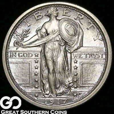 1917 Standing Liberty Quarter Type 1, Sharp FULL Head, PQ Solid Gem BU++ FH!
