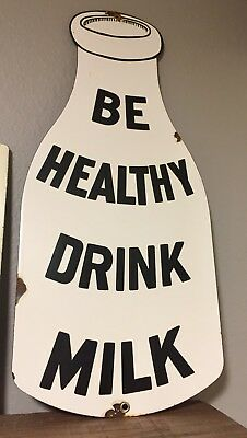 "Original Vintage Large BE HEALTHY DRINK MILK Porcelain Enamel Sign 20"" x 9"" USA"