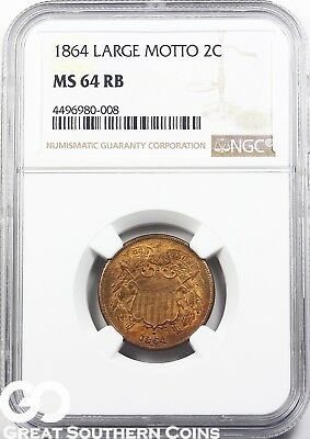 1864 NGC Two Cent Piece NGC MS 64 RB * Large Motto, Razor Sharp, Nice, Free S/H!