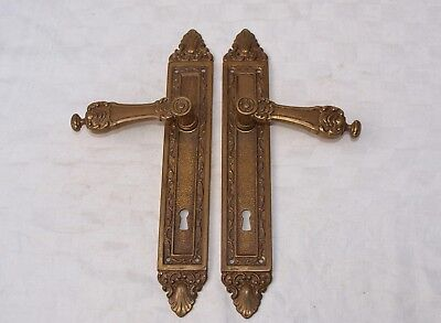 2 (pair) LARGE VINTAGE RECLAIMED BRASS FRENCH DOOR HANDLES WITH BACK PLATES 2of2