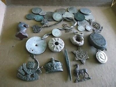 JOB LOT OF METAL DETECT FINDS INCLUDING WHIRLS/ SILVER JEWELLERY/COINS 99p MELB