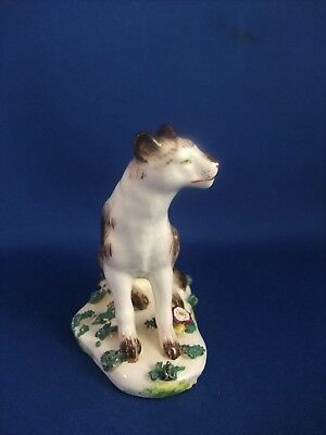 Antique 19Thc Porcelain  Figure Of A Wolf (Wolf Dog) Gold Anchor Mark.