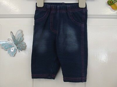 Baby Girl Blue With Pink Stitch Like Jeans Leggings In Size 0-3 Months