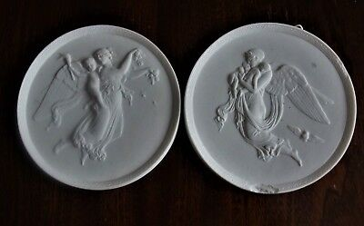 Antique 19Thc Copenhagen Parian Bisque Figure Plaques Night & Day- Thorvaldsen