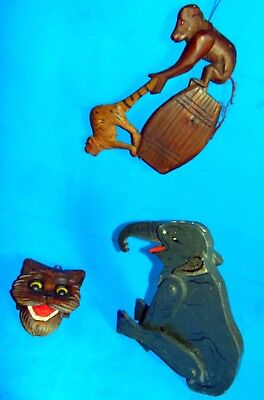 3 GREAT  AND  RARE  ANTIQUE  WOOD WOODEN  mechanical  toys/figures BLACK  FOREST